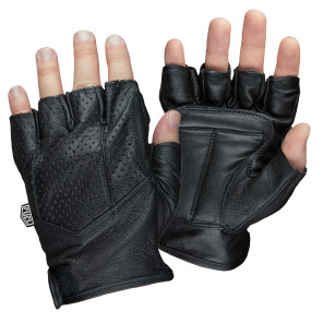 Adult Fingerless Motorcycle Gloves - Black